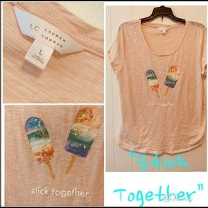 "LC Lauren Conrad Tops - LC ""Stick Together"" Sequin Popsicle T-Shirt  Large"